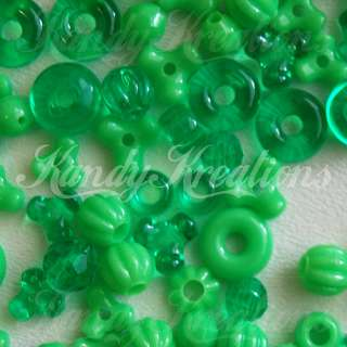 100 LIME GREEN pony BEADS kandi Raver RAVE mixed Rings tri spacers 4