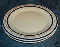 Mainstays Home Blue Orange Striped Dinner Plates 2