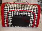 Houndstooth Red Trim Hard Sided Dog~Cat~ Pet Carrier 16