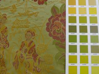 100%SILK LAMPAS MADAME BUTTERFLY JAPANESE FLORA GREEN