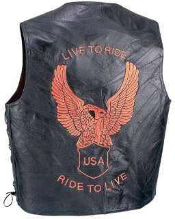 Live to Ride Black Leather Motorcycle Biker Vest Mens
