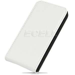 Ecell   WHITE LEATHER FLIP CASE FOR APPLE iPHONE 4 4G Electronics
