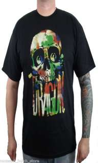 NWT 2011 Dragon WATERCOLOR SKULL Tee Shirt BLACK MED XL
