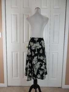 Ann Taylor Loft Petites Size 10P Full Flowy Black Floral Print Skirt