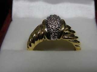 DAVID YURMAN Solid 18K Yellow Gold Diamond Domed Shrimp Ring