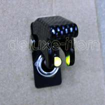 CARBON FIBER GREEN LIGHT LED AIRCRAFT TYPE TOGGLE SWITCH