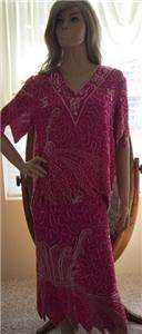 Bohemian Hippie *INDIA* silk sequin/ bead GLAM ~~~TOP AND SKIRT LG