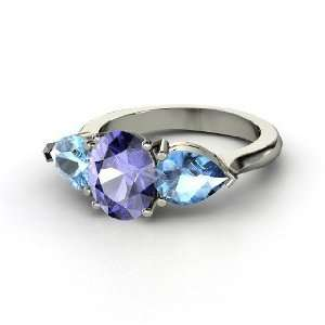 Jessica Ring, Oval Tanzanite 14K White Gold Ring with Blue