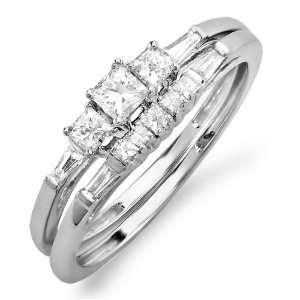 60 Carat (cttw) 10k White Gold Princess & Baguette Diamond Ladies