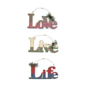 Pack of 6 Rustic Lodge Love/Life/Live Plaid Christmas