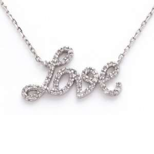 Sterling Silver Diamond LOVE Necklace CoolStyles Jewelry