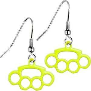 Yellow Neon UV Brass Knuckle Earrings: Jewelry
