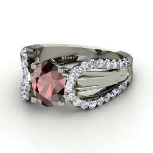 Rita Ring, Oval Red Garnet 14K White Gold Ring with