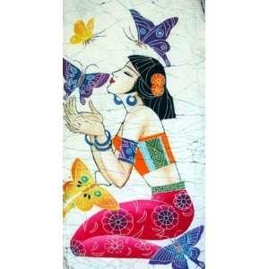 Chinese Art Batik Tapestry Butterfly Girl
