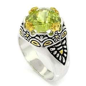 Designer Inspired 2 tone Vintage Ring w/Peridot CZ, 10