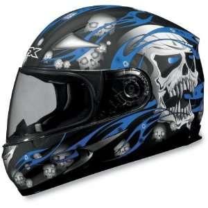 AFX FX 90 SKULLS MOTORCYCLE HELMET BLACK/BLUE SKULL XL