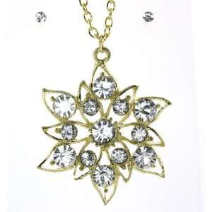 Gold Tone Clear Austrian Crystal Pendent Necklace Stud