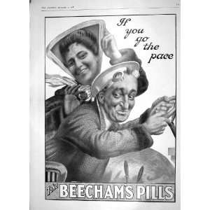 1908 ADVERTISEMENT BEECHAMS PILL LADY MAN DRIVING CAR