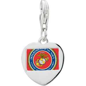 Silver Gold Plated Character Marine Corps Photo Heart Frame Charm