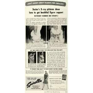 1943 Ad Corset Rubber X Rays Figure Supports Spirella
