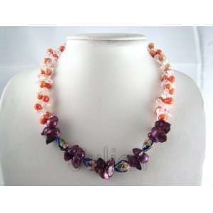& Cloisonne 9mm Pink Freshwater Pearl Necklace J059