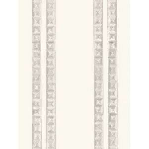 Schumacher Sch 5005360 Greek Key Stripe   Oyster Wallpaper