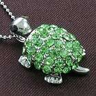 Stone Turtle Tortoise Animal Necklace Chain Pendant Silver Tone