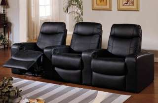 Leather Home Theater Seats Seating   3 Black Recliners