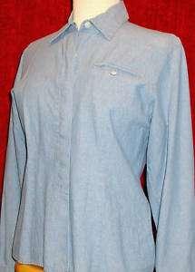 TALBOTS PETITES Womens S Light Blue DENIM Cotton Button Down Shirt