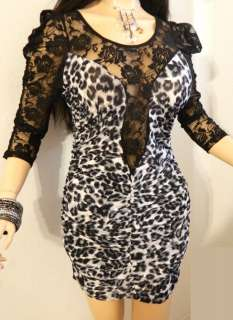 SEXY GOTH CHEETAH DEEP LACE SLEEVE BACK LOW CUT CLEAVAGE STRETCH MINI