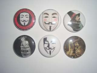 Buttons Pins Badges Mask Occupy Wall Street V For Vendetta