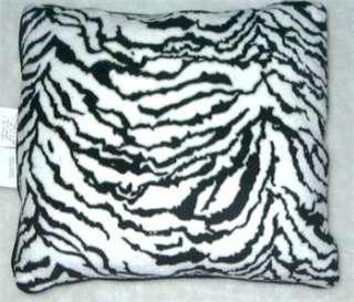 Black & White Zebra Print Plush Throw Pillow NEW