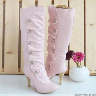 New Womens PU Leather high heeled shoes Boots Shoes
