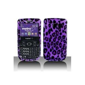 Hard Snap on Shield With PURPLE BLACK LEOPARD Design Faceplate Cover