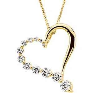 Gold Diamond Heart Journey Pendant with Chain   1.00 Ct. Jewelry