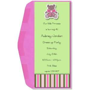 Girl Baby Shower Invitations   Pink Icing Bebe Bear Invitation
