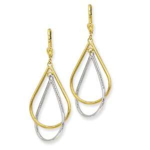 Tear Drop Tube Leverback Earrings in 14k Two tone Gold Jewelry