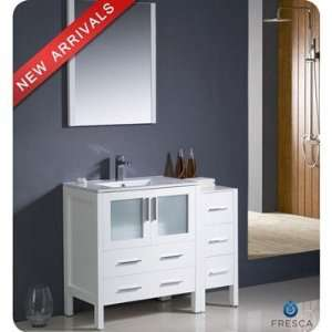 Bathroom Vanity on Fresca Torino 42 Inch White Modern Bathroom Vanity With Side Cabinet
