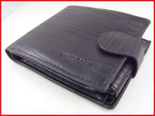 Hasp Fine Bifold Black & Brown PU Leather Zip Purse Wallet Coin ID