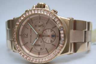 New Michael Kors Women Rose Gold Baguette Bezel Chronograph Stop Watch