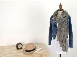 New Grey Lady Women Soft Zebra Print Cotton Neck Scarf Wrap Shawl 1.8M