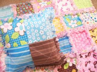 Sweet & cute doll rag quilt blanket and pillow set