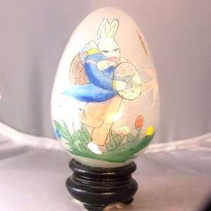 Reversed Painting Blown Glass Easter Egg with bunny and