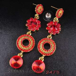 6Colors Ringed Flower Dangle Earrings 72MM Golden/Silver Plated Czech