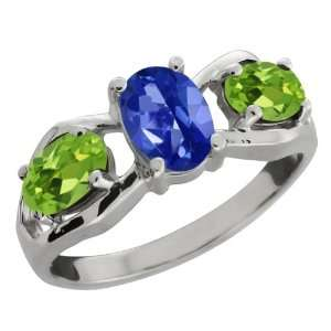 95 Ct Oval Sapphire Blue Mystic Topaz and Peridot Sterling Silver Ring
