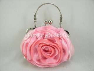 Top Handle Crystal Pink Rose Wedding/Prom Purse Clutch