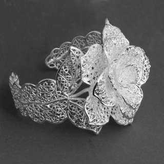White Silver Big Carve Flower Leaf Cuff Bracelet Bangle
