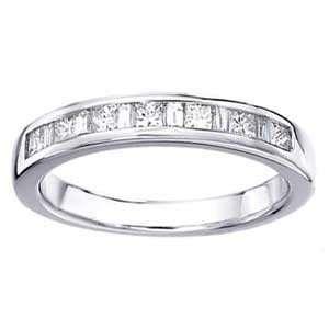 Carat Princess & Baguette Diamond 14k White Gold Wedding Ring Jewelry