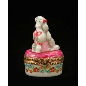 Poodle Dog on Floral Box French Porcelain Limoges Box