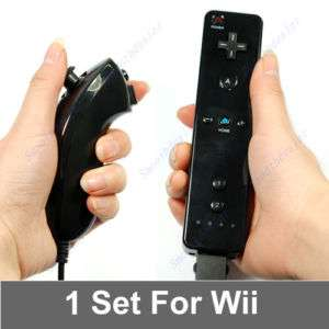 Remote and Nunchuck Controller for Nintendo Wii Black